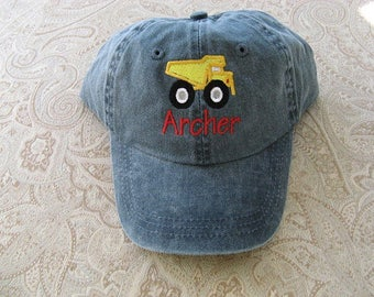 Personalized Toddler Youth  Baseball Hat Dump Truck  Baseball Cap Kids Size Hat Dump Truck Hat Custom Embroidered Baseball Cap Childrens Hat