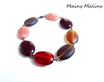 Bracelet oval beads red burgundy Brown amber