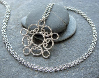 Sterling Silver 'Arwenack' Pendant and Chain. Handmade Jewellery by Joel Martin of Cornwall