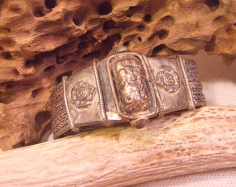 Tribal Bracelet Silver with screw latch   -- old jewelry  -- heavy patina( FREE SHIPPING SALE)