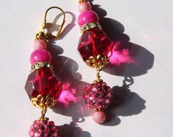 "3"" 1/4 L  Pink, Raspberry Jade, rhinestone ball dangle / drop earrings"