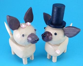 Chihuahua Wedding Cake Toppers | Chihuahua Bride and Groom | Gay Wedding Cake Toppers | Custom Dog Wedding Cake Toppers