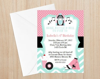 50's Birthday Invitation(set of 12), Sock Hop Invitation, Fifties Invitation, Fabulous 50's Invitation, Sock Hop Thank You Cards