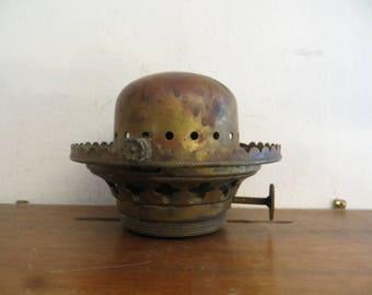 Antique Brass P & A Flip Top Flanged Chimney Kerosene Oil Lamp Burner w/ free ship