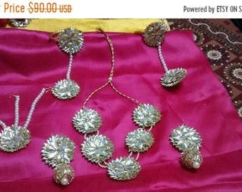 Summer Sale 50% Gotta Patti set, Indian Earring, Gota Jewellery set