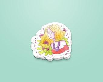 Woman & flowers - Sticker ~ Lucile Farroni