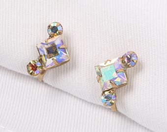 "1940's WEISS Art Deco Aurora Borealis Prong Set Rhinestones Screw Back Earrings Gold Tone Mounts, Excellent Cond., 1/2"" H X 3/4"" W."
