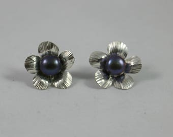 Black Pearl Flower Sterling Post Earrings