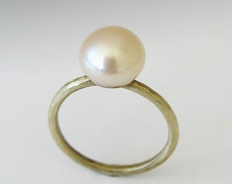 Single pearl ring, engagement ring. simple brass ring, thin brass ring, stacking ring, fresh water pearl ring, simple - Young Love RK1533
