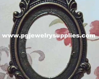 40mm x 30mm oval metalised metalized antique brass cameo setting 1 piece lot l