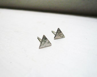 Tiny Triangle Earrings - Solid Sterling Silver Post Earrings, Tiny Hammered Sterling Silver Triangle Earrings - Tiny Triangle Studs