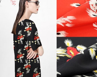 108CM Wide 19MM Floral Print Red Black Strech Silk Fabric for Elegant Women's Blouse Dress Clothing Cheongsam E349