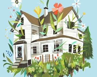 Magic Farmhouse Art Print | Rustic Wall Art | Farm Painting | Katie Daisy | 8x10 | 11x14