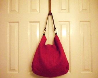 Vibrant Red Burlap Hobo Bag w/ Leather Strap