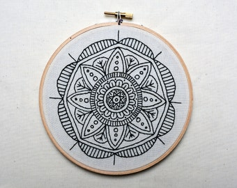 mandala embroidery hoop - hand sewn wall piece mounted in hoop measuring 6 inches - ready to ship - one of a kind