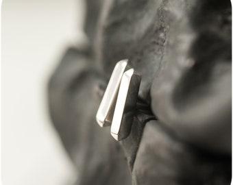 Small Spiky Bar Stud Earrings in Sterling Silver