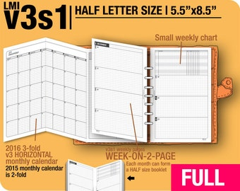 FULL [HALF size v3s1 w/o daily] May to December 2018 -Half Letter Filofax Inserts Printable Binder Planner Midori.