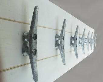 4 Foot Plank Coat Rack With Eight Galvanized Boat Cleats