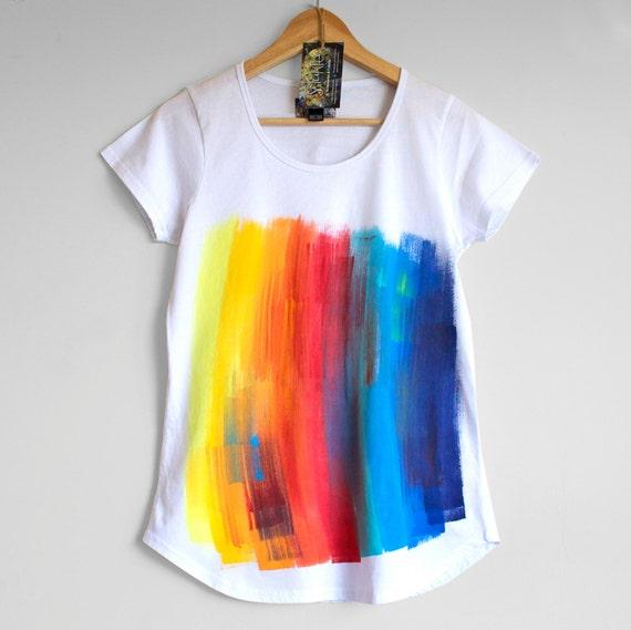 RAINBOW on WHITE . Rainbow T-shirt. Women's t shirt. Hand painted tees. Unique t shirts. Rainbow top.