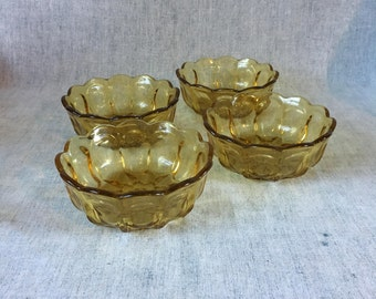 Anchor Hocking Fairfield Amber Glass Salad or Cereal Bowls, Set of 4