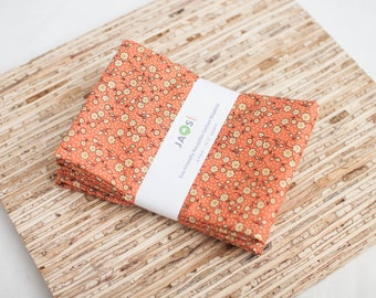 Large Cloth Napkins - Set of 4 - (N3701) - Orange Small Floral Modern Reusable Fabric Napkins