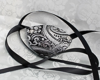 Black Eye Patch, Black and Silver Metallic Brocade Pirate Eye Patch, Pirate Costume Accessory