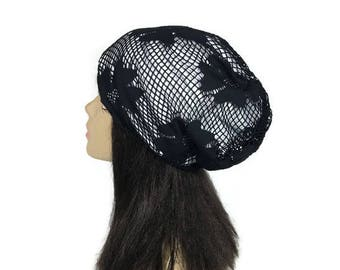 FREE SHIPPING/Custom Size/Lining Floral Crochet Lace Slouchy Hat Spring Slouch Hat Summer Chemo Hats  100% Cotton Lining Hats for Hair Loss