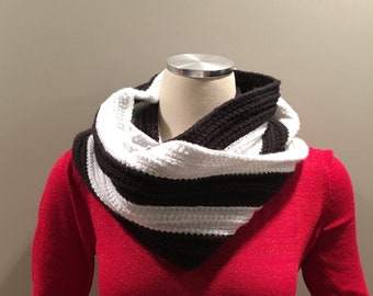 Black and Sparkly White infinity scarf