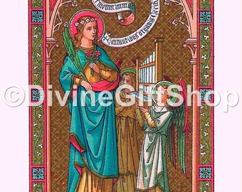 "Icon Saint Cecilia. 5"" X 7"" Print. Gorgeous. Patron Saint of Musicians."