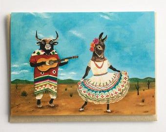Donkey / Bull / Guitar / Mexican Folk Dance / Whimsical Card / Animal Card / Wedding Card / Anniversary Card / Engagement Card / Quinceañera