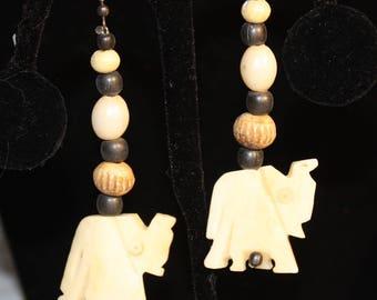 Vintage Hand Carved Bone Elephant  Dangling Earrings