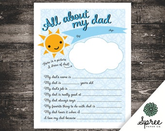 8 x 10 | All About Dad Printable | Dad Printable | Kids Printable | Dad Birthday Gift | Printable Questions | Gift for Dad | Gift for Father
