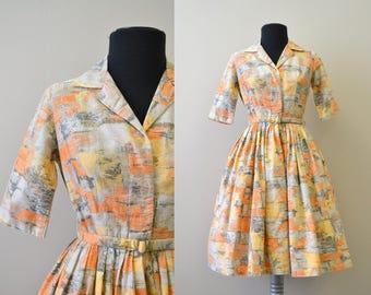 1950s Orange Printed Cotton Shirtwaist Dress