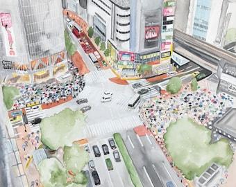 Original painting mixed technique Shibuya crossing-Tokyo Japan