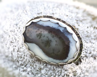 Dendritic Agate textured ring. Oxidised Sterling Silver and Dendrite Agate Ring