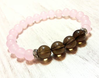 women rose quartz & smoky quartz bracelet healing crystals and stones jewelry beaded bracelet love jewelry pink stone bracelet 8 mm gift