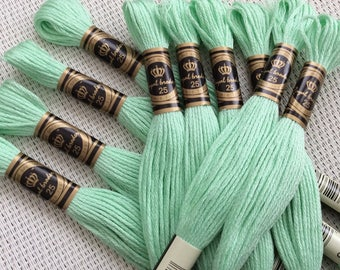 10 skeins of pale green Mercerized cotton threads
