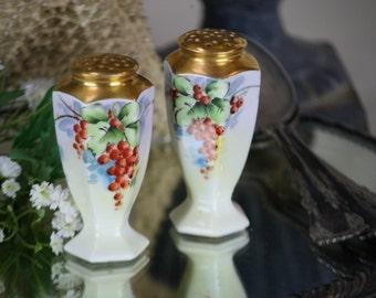 Bavaria Salt & Pepper Shakers Hand Painted Set Red Berries Gilt Tops Favorite Sg