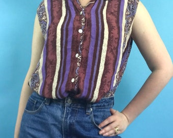 Vintage 90s Festival Ibiza Shirt Blouse Crazy Print Top - ONE SIZE