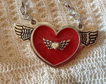 Fun Little Red Heart and Wings Necklace