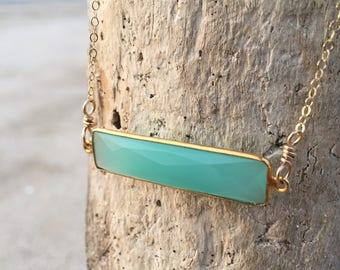 Aqua Seafoam Chalcedony Bar Necklace