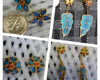 Vintage Chinese Kingfisher Feather Handmade Stud Earrings Turquoise Blue, FOUR styles in a Set