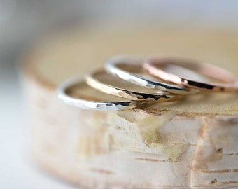 Hammered Ring Band Handmade - Hammered Stacking Ring Silver - Stack Ring - Minimalist Ring Handmade - Gift for Her