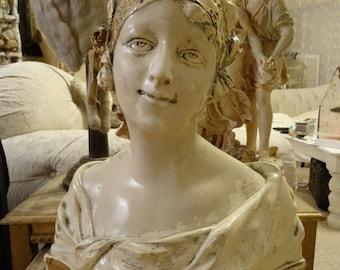 SALE Large Vintage Shabby Cottage Victorian Chic Depose Lady Bust