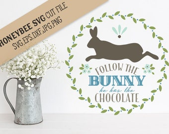 Follow The Bunny cut file svg eps dxf jpg png for Silhouette and Cricut type cutting machines