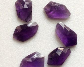 Amethyst Rose Cut, Purple Fancy Shape Flat Back Cabochons, Rose Cut Faceted Gemstones, 14-16mm, 4 Pcs