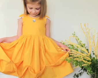 Disney Belle Beauty and the Beast Inspired Princess Dress Up and Play Dress Made to Order