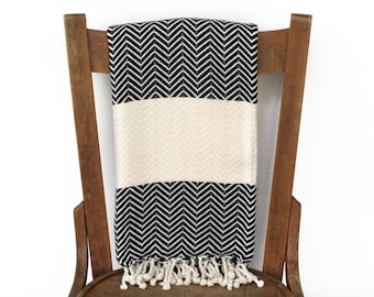 Pestemal Sofa Throw Sofa Throw türkische Handtuch Strand Decke handgewebte Baumwolle türkisches Bad Handtuch Spa Fouta Handtuch Streifen SCHWARZEN CHEVRON LALE