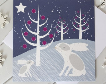 Snow Rabbit Christmas Card Scandi Xmas Snow