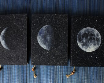 SET OF 3 MOON Journals travel journal, book journal, antique diary, notebook, old paper